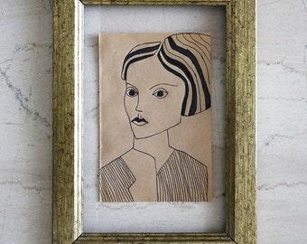 Woman Ink Drawing - Original Illustration - Cheap Art - Brown Paper - Small Format Original Art - Affordable art - Art Deco - Avant Garde