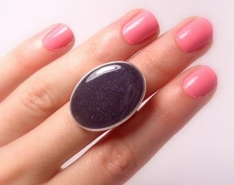 Statement Ring, Grey, Silver, Oval Ring, Cocktail Ring, Rings for Women, Adjustable, Resin Ring, Statement Jewelry, Big Ring, Grey Ring