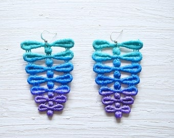 Ombre Lace Earrings in Aqua, Cobalt Blue and Purple