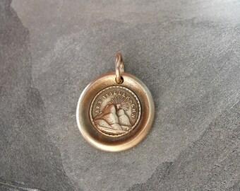 Wax Seal Charm - I Will Return - antique wax seal jewelry pendant Sun Setting German motto by RQP Studio