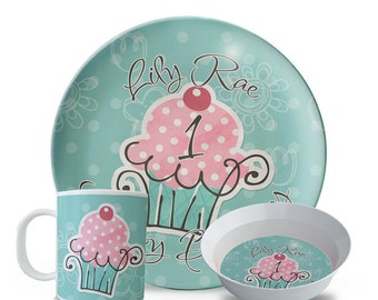 Personalized Cupcake Plate Set, 3 Piece Set, Plate, Bowl, Mug Set, Cupcake Birthday Plate, Personalized Childrens Melamine Dinner Plate
