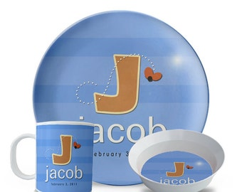 Personalized Plate Set, New Baby Gift Melamine Plate, Bowl, Mug Set, Personalized Monogram Birthday, Birth Date,  Dinner Plate