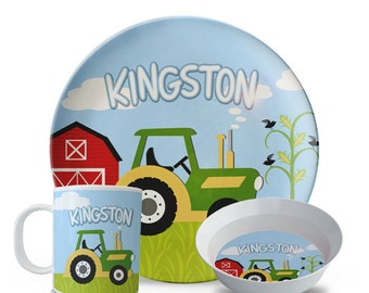 Personalized Melamine Plate Set, Boys Green Tractor Plate Set, Personalized Farmer Birthday Set