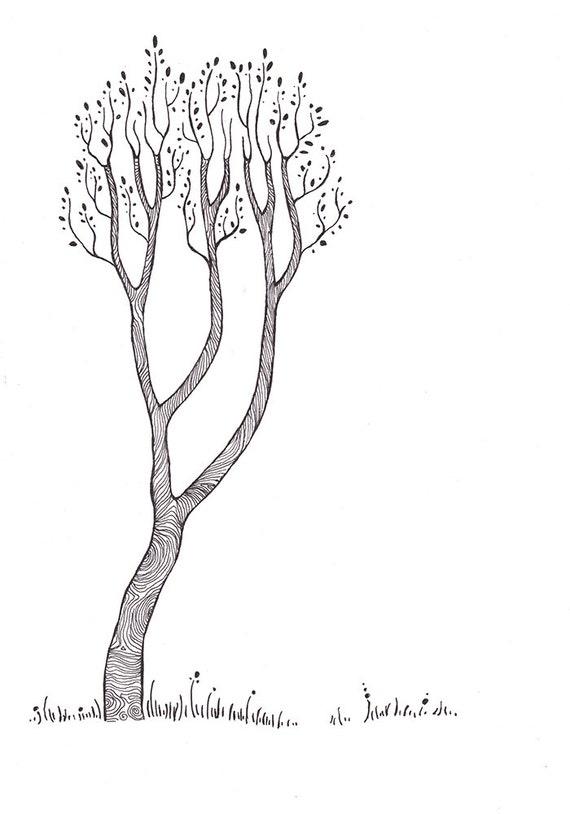 items similar to arbre original dessin noir et blanc art illustration de la nature oeuvre. Black Bedroom Furniture Sets. Home Design Ideas