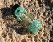 Cathedral Beaded Glass Bottle in Spearmint Green  // Prayer Bottle // Needle Craft Accessories // CBB5