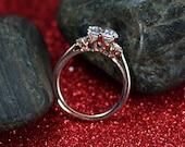 White Sapphire Engagement Ring 3 Gem Stone 2ct 8mm Cupid Custom Size White-Yellow-Rose Gold-10k-14k-18k-Platinum