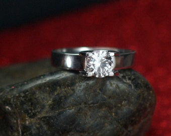 White Sapphire Engagement Ring Pales Modern Tension Diamond Custom White-Yellow-Rose Gold-10k-14k-18k-Platinum