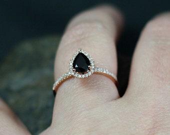 Black Spinel Engagement Ring & Diamond Pear Halo Helena 1ct 7.5mm Custom Size White-Yellow-Rose Gold-10k-14k-18k-Platinum