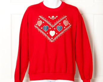Vintage Early 90s Sweatshirt - red hearts comfy - L
