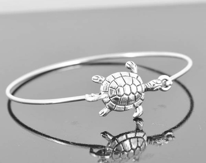 Turtle Bangle, Sterling Silver Bangle, Turtle Bracelet, Stackable Bangle, Charm, Bridesmaid Bangle, Bridesmaid jewelry, Bridal Bracelet