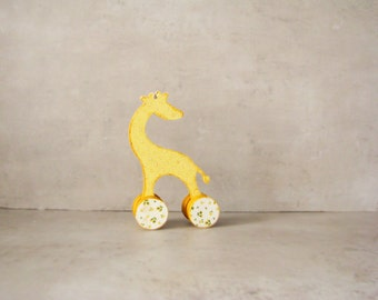 Nursery decor, Baby shower rustic home decor yellow polka dot giraffe, vintage style toy, french baby toys, doll,  red and ivory