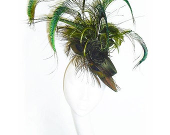 Olive Silk Hat Vintage Inspired with Silk Roses and Peacock Feathers