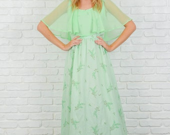 Vintage 70s Green Maxi Dress Boho Hippie Cape Slv Maxi Floral Print XS Small S 3741