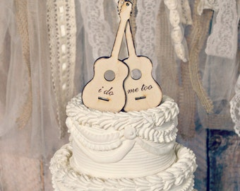 Guitar-musician-wedding-cake topper-groom's cake-bridal shower-rustic-guitar player-bride-groom-rock-rock and roll-I do-wood burnt-topper