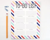 Large Notepad To Do List Note Pad Weekly Chore List Days of the Week To-Do Chart Dorm Desk Accessories Graduation Gifts Preppy Stripes