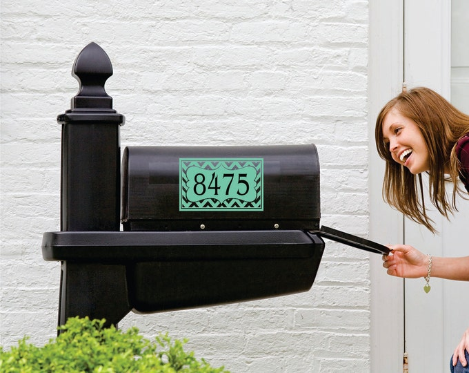 Chevron Mailbox Decal - Small Decal - Front Door Personalized Decal - Chevron Personalized Decals