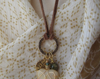 Tree of Life Necklace in Gold with Cape Cod Beach Heart