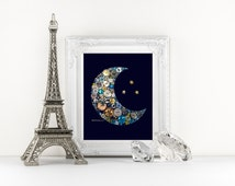 11x14 Button Art Moon and stars Baby Nursery decor Crescent Moon Stars Buttons Button Moon Custom Wall Art love you to the moon and back