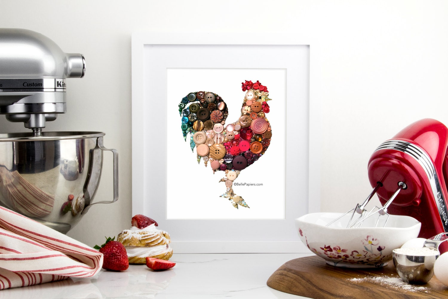 Rooster Kitchen Decorations 11x14 Button Art Rooster