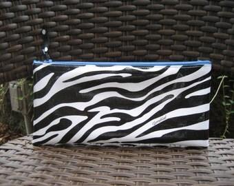 Zippered Oil Cloth Pouch-Black and White Zebra Stripe Cosmetic Bag--Purse Organizer--Pencil pouch