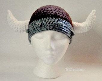 VIKING HAT-Crochet brown and grey viking hat-Braided viking hat-Made to order