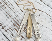 Faith Hope Love Mixed Metals Necklace . Faith Hope Love . Faith Jewelry . Stamped Jewelry . Personalized Jewelry . Custom Jewelry