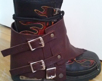 Brown Leather Spat | Motorcycle Boot Spat | Leather Spat | Boot Cover | Boot Decoration | Brown Boot Cover