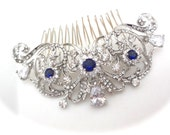 Brides hair comb ~ Teardrop Crystals ~ Hair comb ~ Sapphire blue ~ Hair Jewelry ~ Something blue hair comb ~Wedding accessories ~KATE