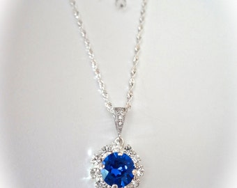 Bridal jewelry ~ Halo necklace ~ Swarovski ~ Sapphire crystal necklace ~ Sterling silver ~ Something blue ~ High quality ~ Gift ~ SOPHIA