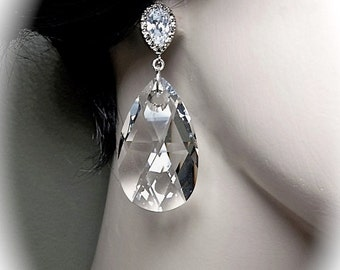 Large crystal earrings - 38mm ~ Swarovski crystals - Teardrops - Cubic zirconia earrings and sterling silver posts - Brides earrings - GIFT