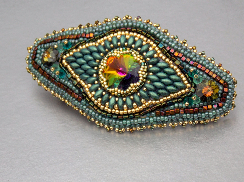 Bead embroidery barrette seed jewelryswarovski