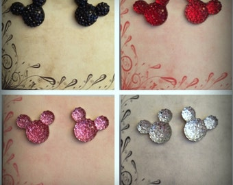 Sparkly Mickey Stud Earrings Surgical Stainless Steel Post For Sensitive Ears