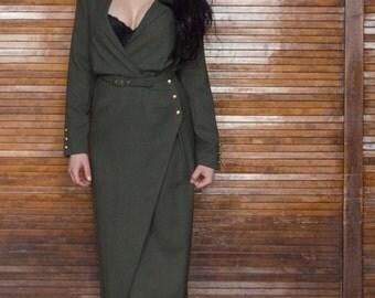 Vtg 80s 90s Wrap Dress / Olive Goddess / Power Wrap / Military Influence