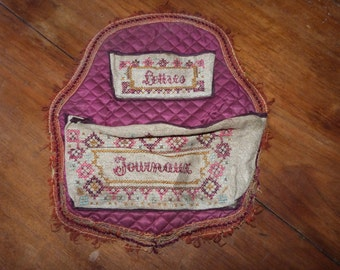 Antique French embroidered silk w linen wall letter rack holder pocket bag w hand embroidery, trimming, needlepoint art French boudoir decor