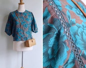 Vintage 80's Teal & Grey Batwing Slouchy Cutout Top M or L