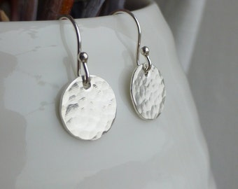 Sterling Silver Mini Disc Earrings - Hammered