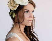 Large Floral Crown Headpiece, Gold Ivory flower, green leaves, millinery, vintage style, oversized headpiece