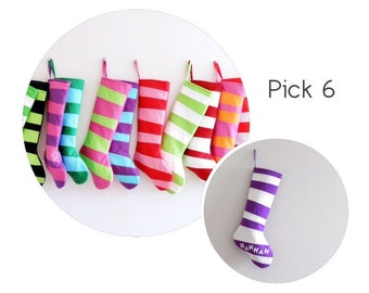 6 Personalized Christmas Stockings Personalized Stockings, Set of SIX Striped Stockings Boy Girl Dr Seuss Holiday Decor Christmas Decoration