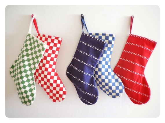 Modern Christmas Stocking Personalized Stocking, Personalized Christmas Stocking Red Blue Green Family Boy Girl Holiday Stocking, Diner