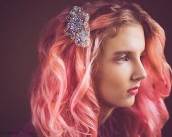 BRIDAL HAIR COMB / Rhinestone hair piece / Vintage inspired