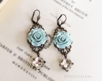 Blue Earrings Bridal Jewelry Pastel Blue Light Blue Gray Flower Dangling Earrings Vintage Style Rhinestone Elegant Modern Romantic Wedding