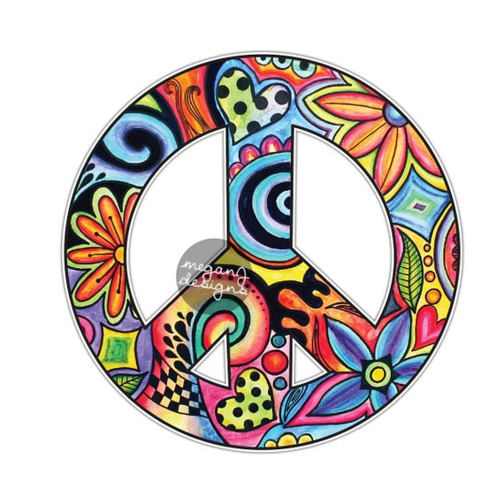 Hippie Peace Sign Sticker Colorful Flower Car Decal Peace