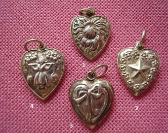 Unusual Vintage Sterling Silver Puffy Heart Charms