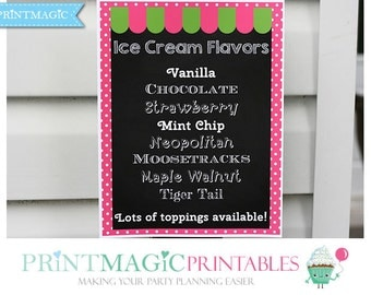 Ice Cream Shop Party Ice Cream Flavors Sign - Editable Text - Instant Download - Ice Cream Birthday Party - Ice Cream Flavor Sign