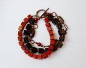Triple jasper and smoky quartz bracelet / Brown gemstone bracelet / Genuine gemstone original design triple bracelet