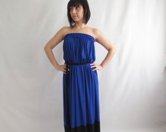 Draped maxi dress, floor length dress, strapless dress, long dress, blue tunic, gathered jersey dress