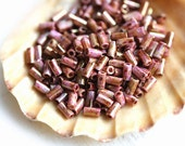 TOHO Bugle Seed beads, 3mm, Hybrid Luster Opaque Rose Gold Topaz, Y184, japanese, glass beads - 6g - S390