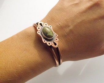 Copper Cuff with Unakite Cabochon - Handcrafted Cuff Bracelet - OOAK Unakite Bracelet - Gift for Her