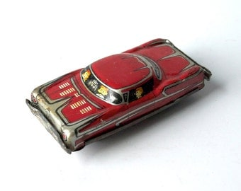 Tin Friction Toy Car, 1950s metal toy car, vintage shabby red car, couple dating