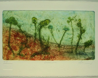 Fine Art Collograph. Ecological landfill regeneration, plants, Hand printed, limited edition.